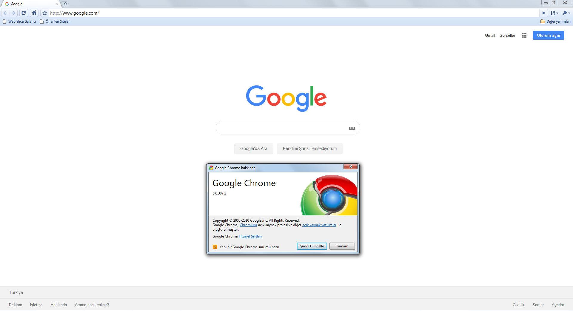 Google Chrome 5.0.307.1